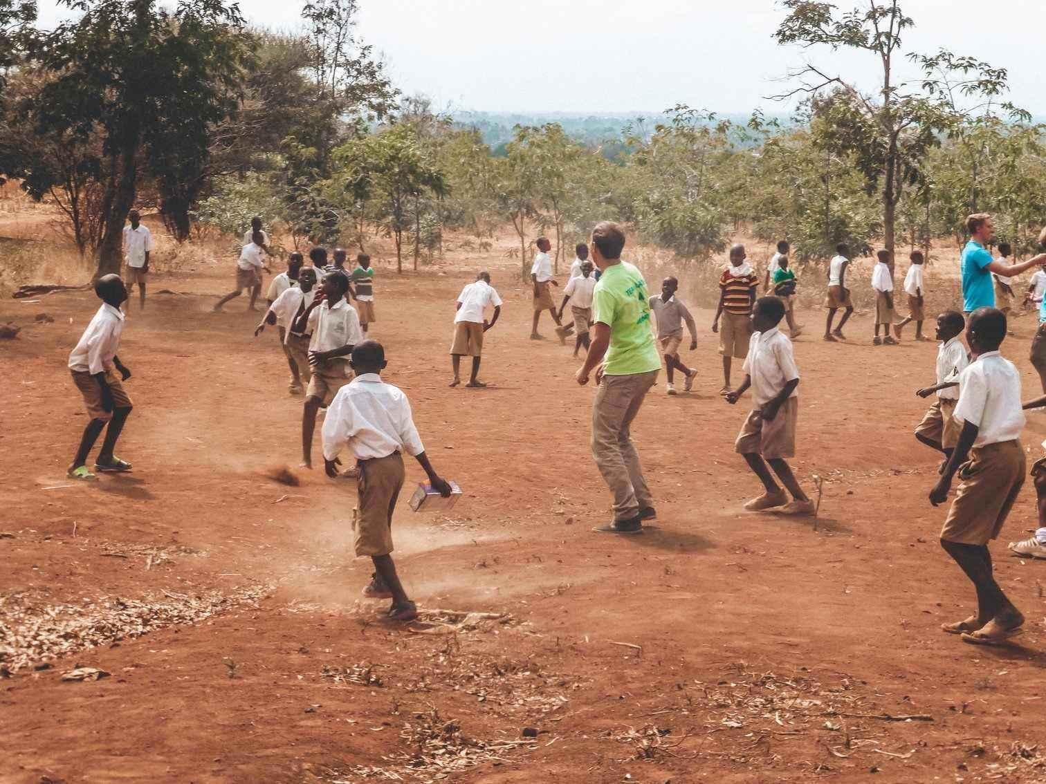Playing Football at Tanzanian School