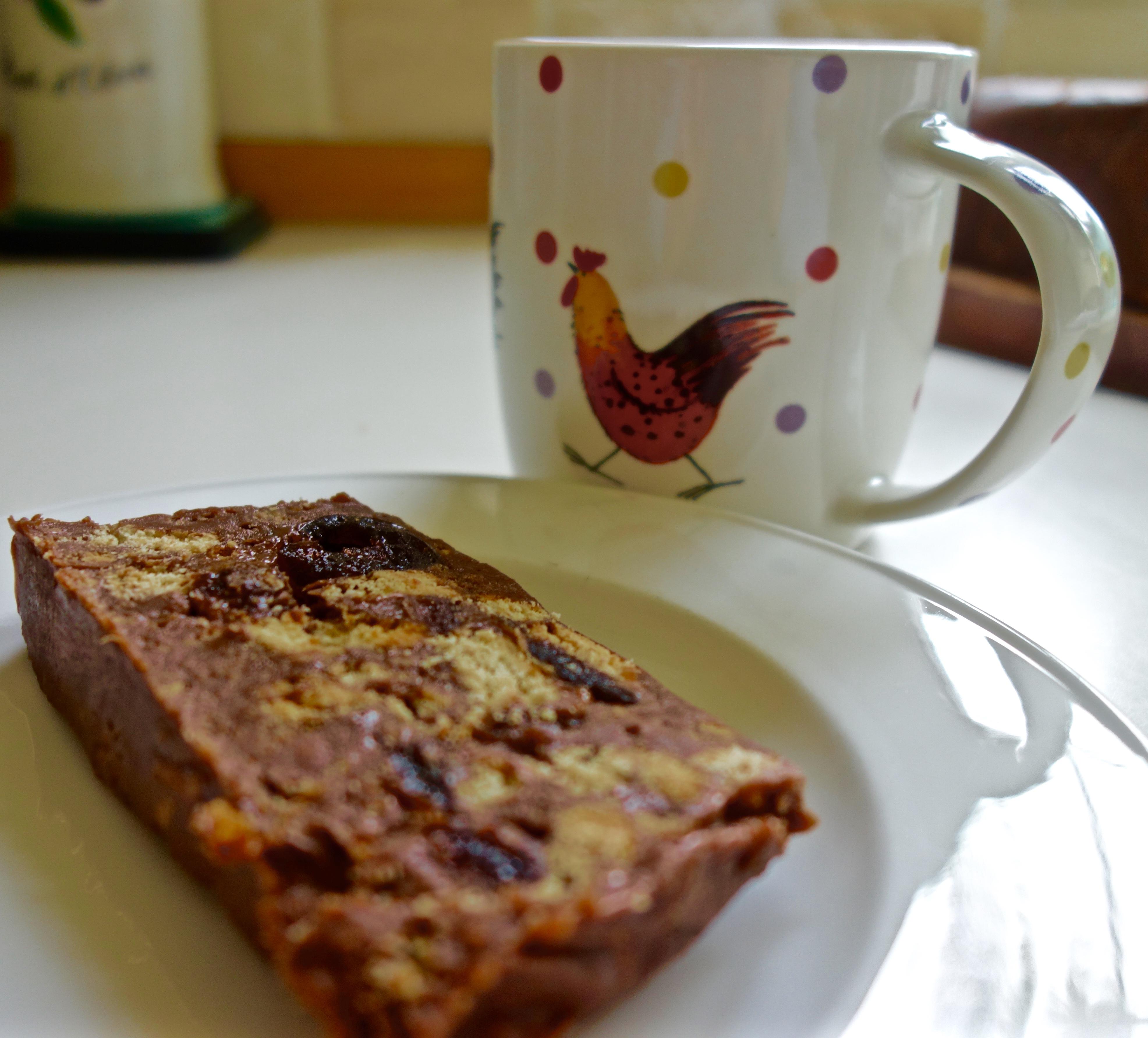 chocolate fridge cake and tea