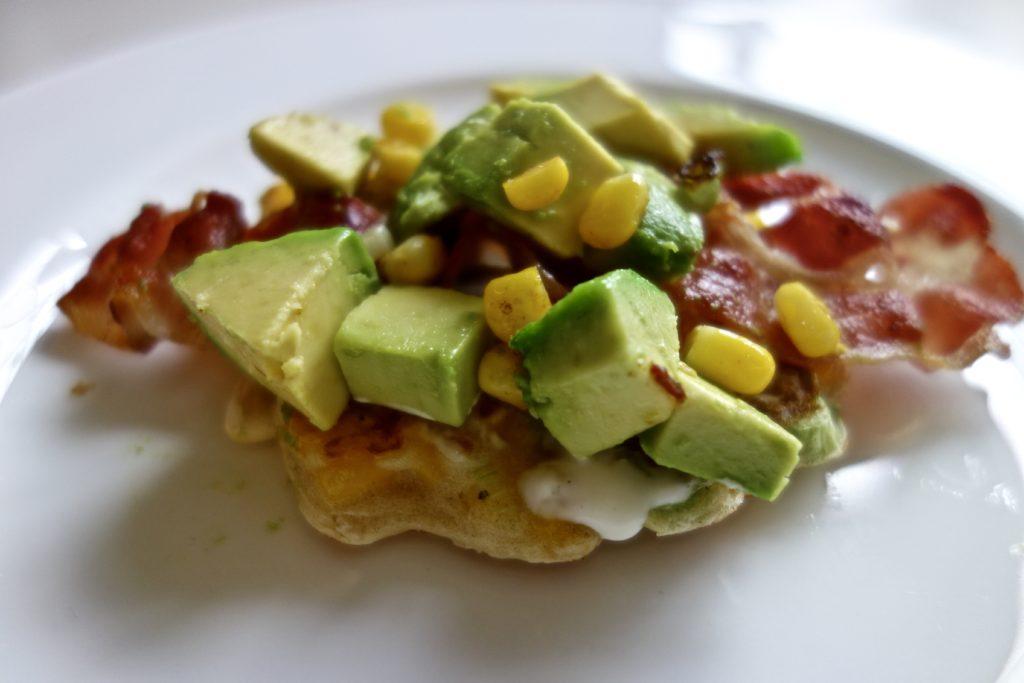 Sweetcorn Fritters with Crispy Bacon Avocado recipe