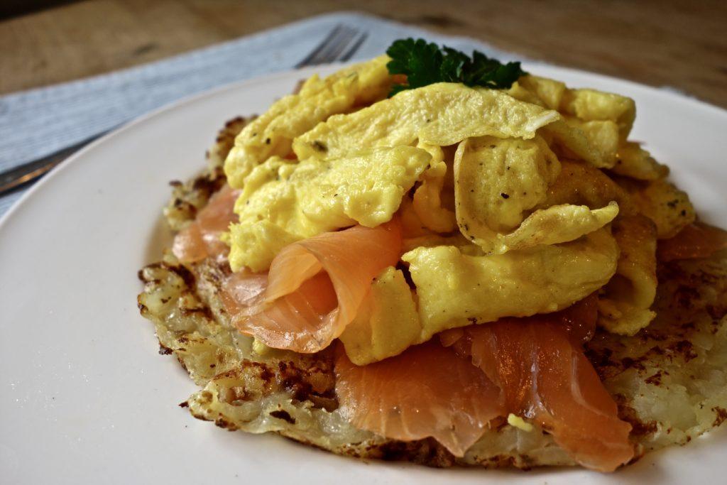 Scrambled Egg Smoked Salmon Rosti Recipe for brunch