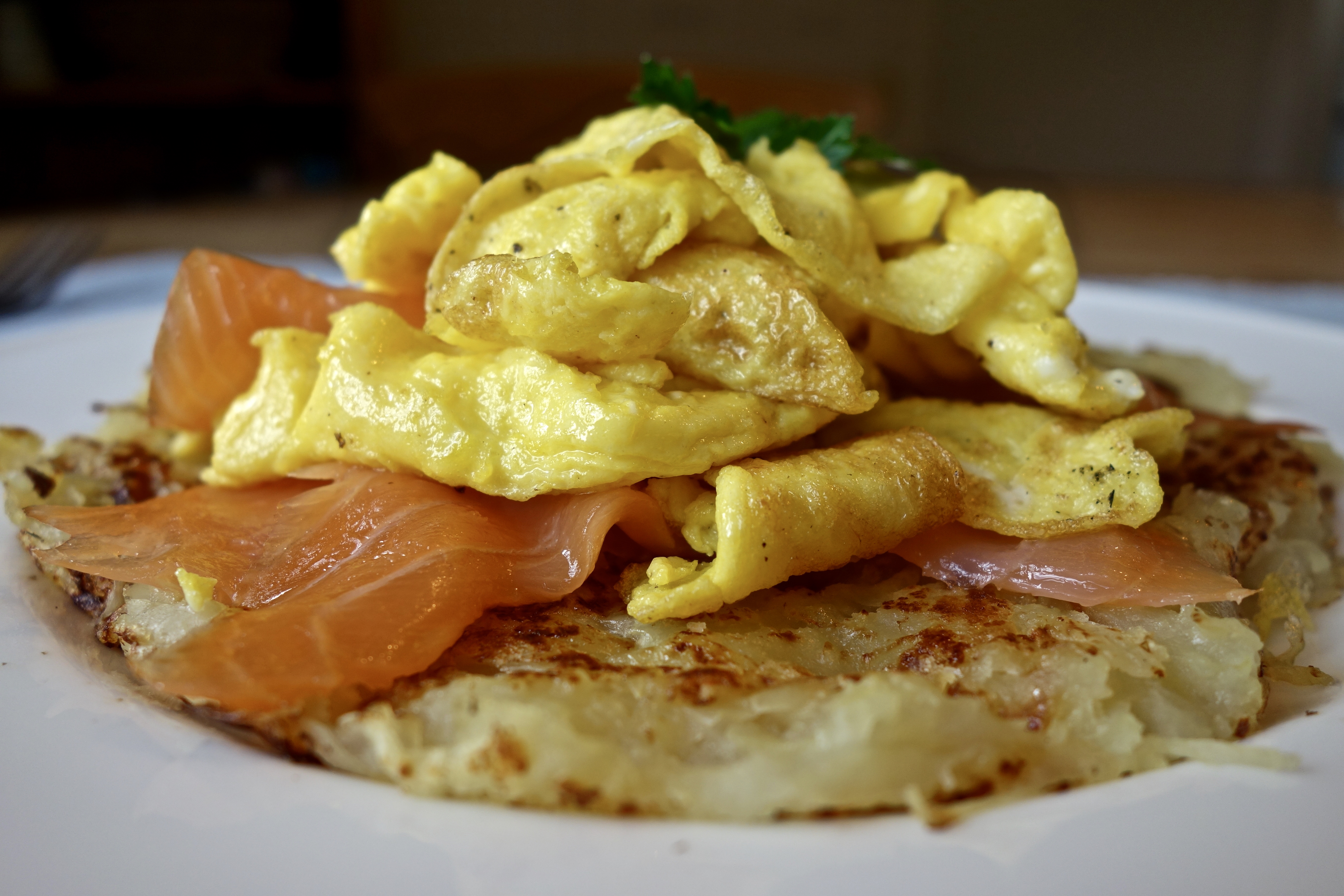 Scrambled Egg and Smoked Salmon Rosti for brunch