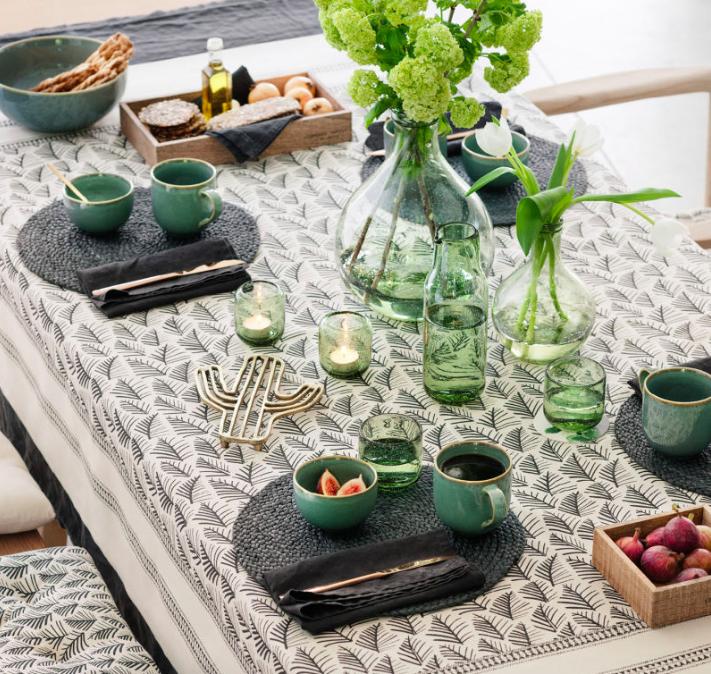 H&M Green Glassware