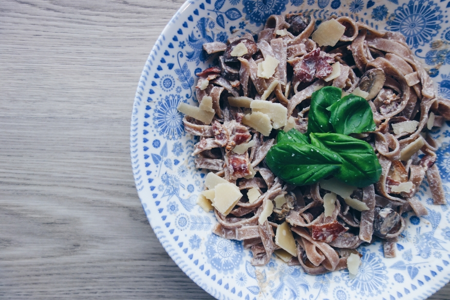 Bacon and mushroom tagliatelle