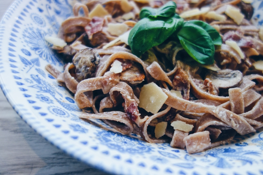 Creamy Tagliatelle with Bacon & Mushroom Recipe