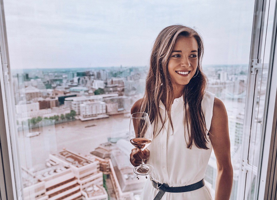 Drinking wine at Aquashard London