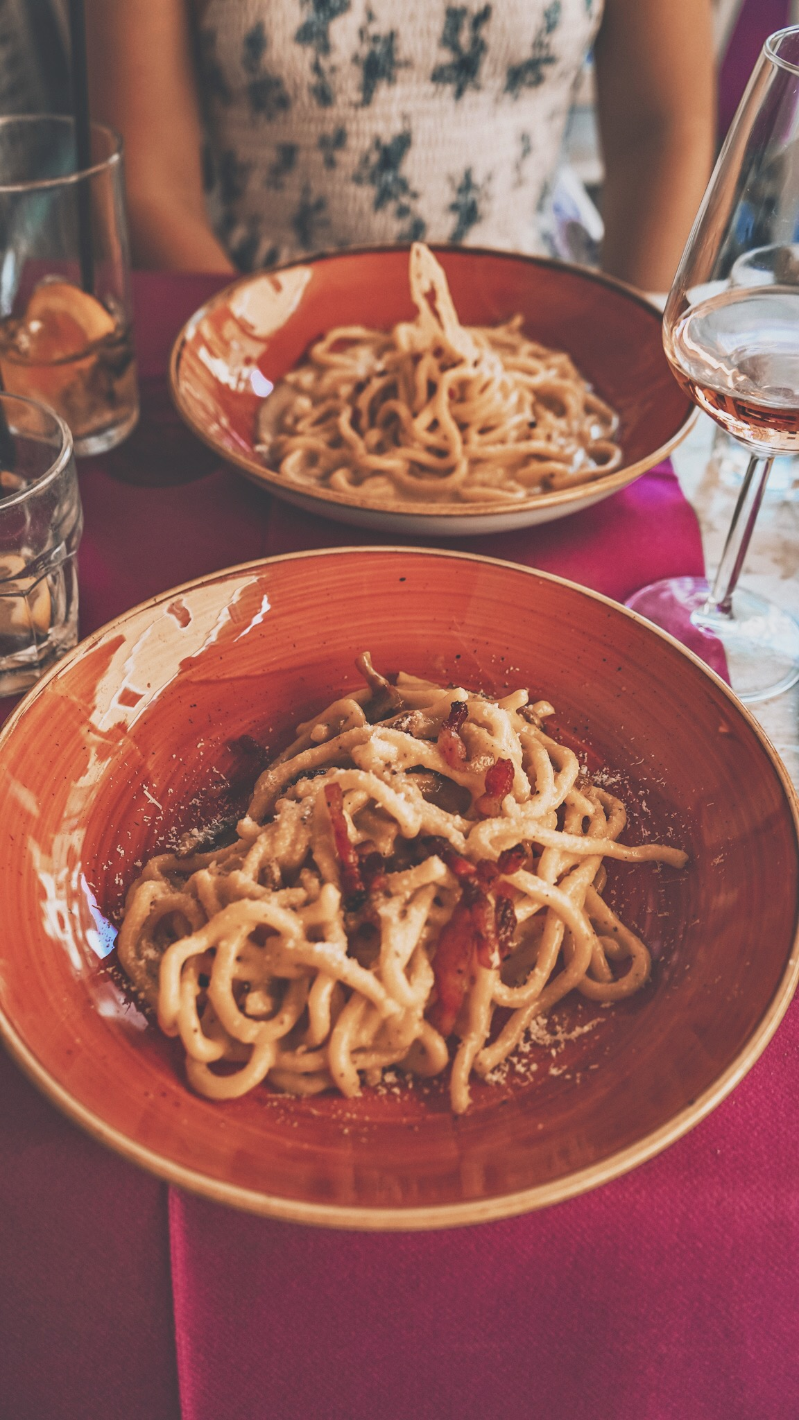 Cacio de pepe and a carbonara in Rome