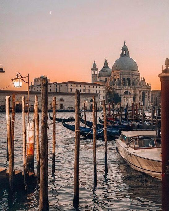 Basilica di Santa Maria della Salute at sunset Venice