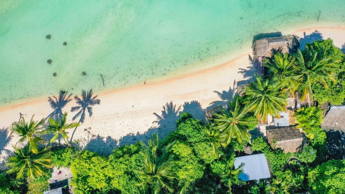 Aerial view of Kiribati inn the middle of the Pacific Ocean