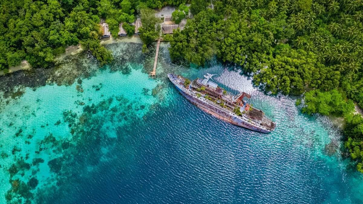 Half sunken ship at Roderick Bay in Solomon Island.