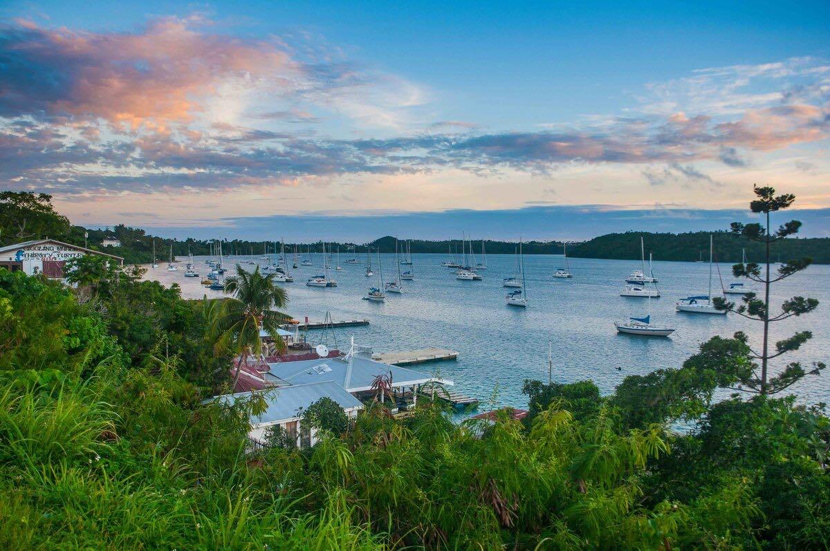 The bay of Neiafu after sunset, Vava'u islands, Tonga, South Pacific