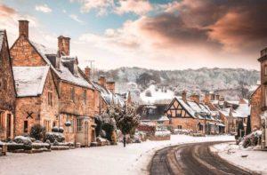 Snowy Broadway in Cotswolds